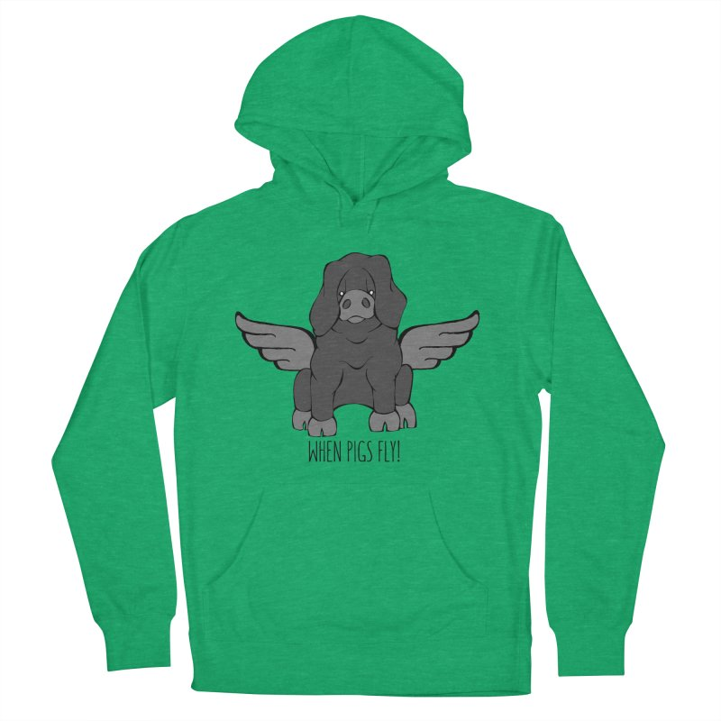 When Pigs Fly: Large Black Men's French Terry Pullover Hoody by Angry Squirrel Studio
