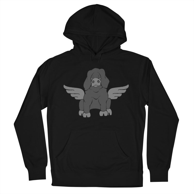 When Pigs Fly: Large Black Men's Pullover Hoody by Angry Squirrel Studio