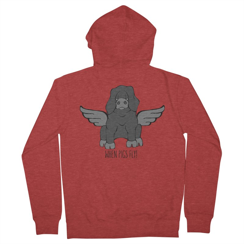 When Pigs Fly: Large Black Women's Zip-Up Hoody by Angry Squirrel Studio