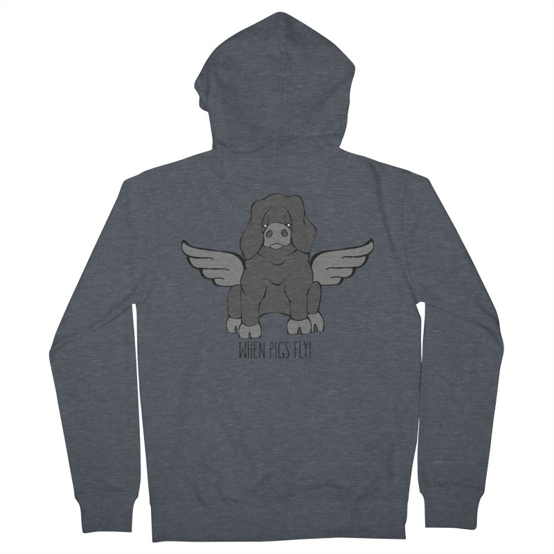 When Pigs Fly: Large Black Men's French Terry Zip-Up Hoody by Angry Squirrel Studio