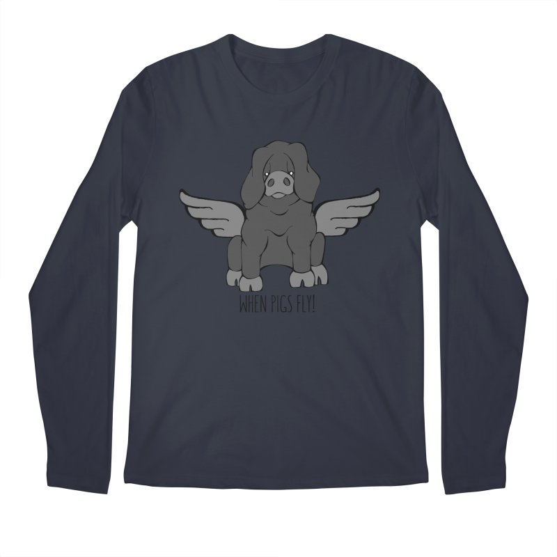 When Pigs Fly: Large Black Men's Regular Longsleeve T-Shirt by Angry Squirrel Studio