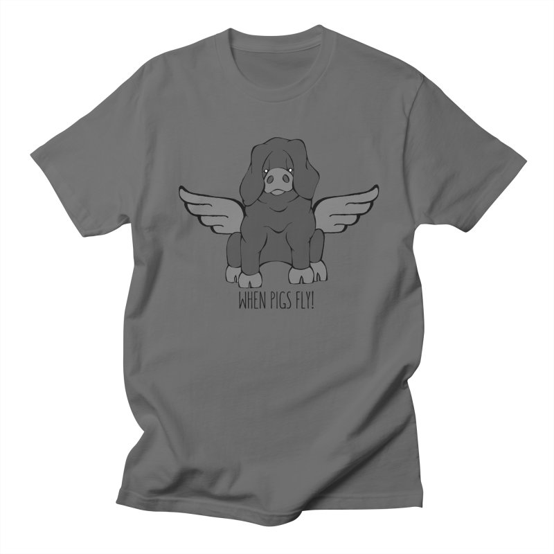 When Pigs Fly: Large Black Women's Regular Unisex T-Shirt by Angry Squirrel Studio