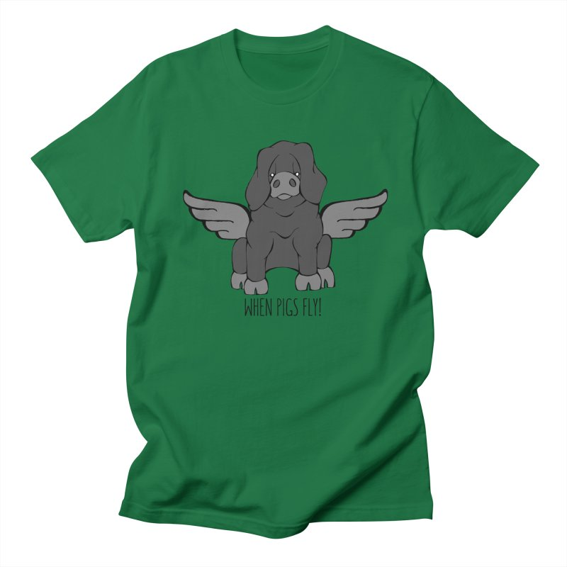 When Pigs Fly: Large Black Men's T-shirt by Angry Squirrel Studio