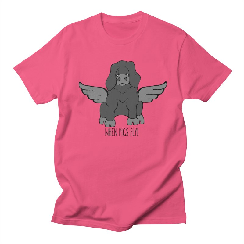 When Pigs Fly: Large Black Women's Unisex T-Shirt by Angry Squirrel Studio