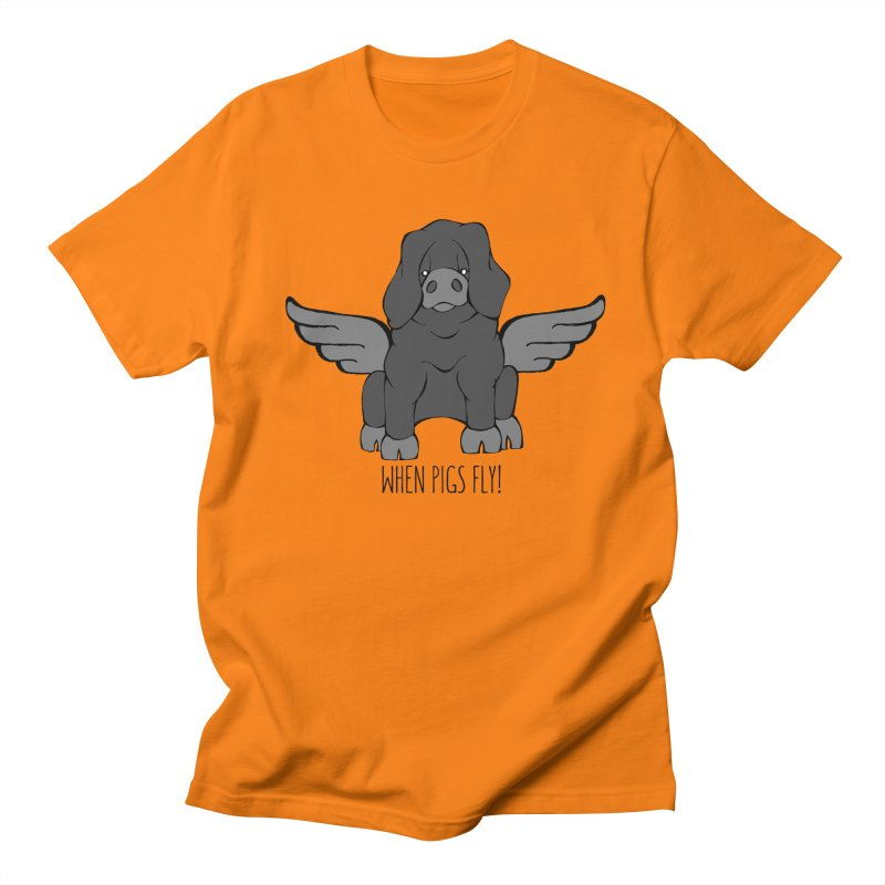 When Pigs Fly: Large Black Men's Regular T-Shirt by Angry Squirrel Studio