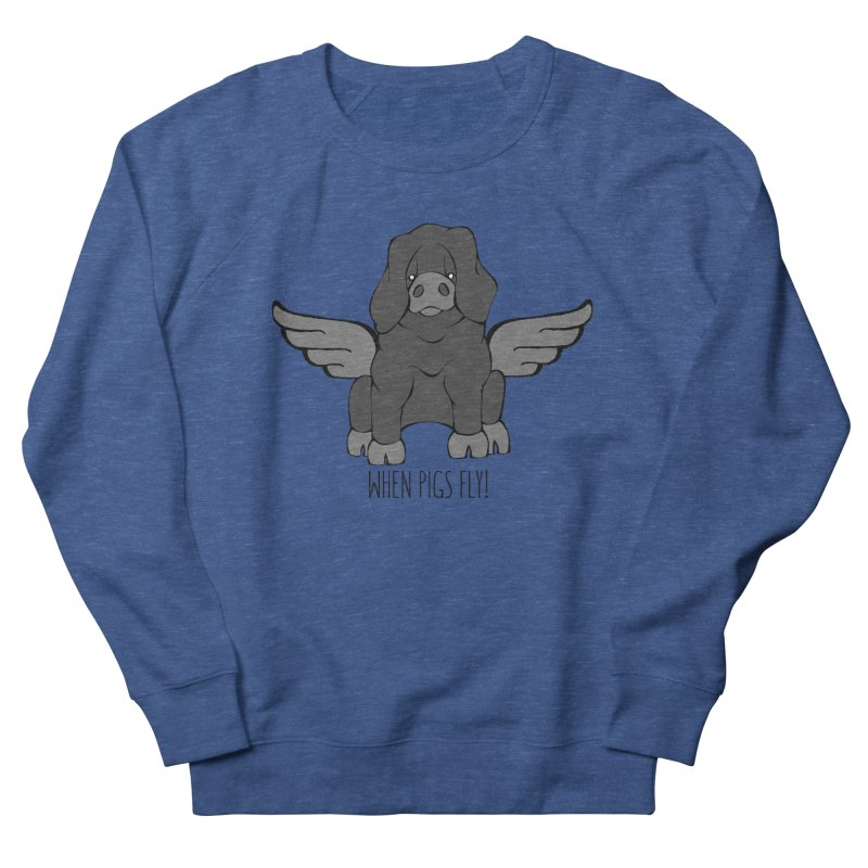 When Pigs Fly: Large Black Women's French Terry Sweatshirt by Angry Squirrel Studio