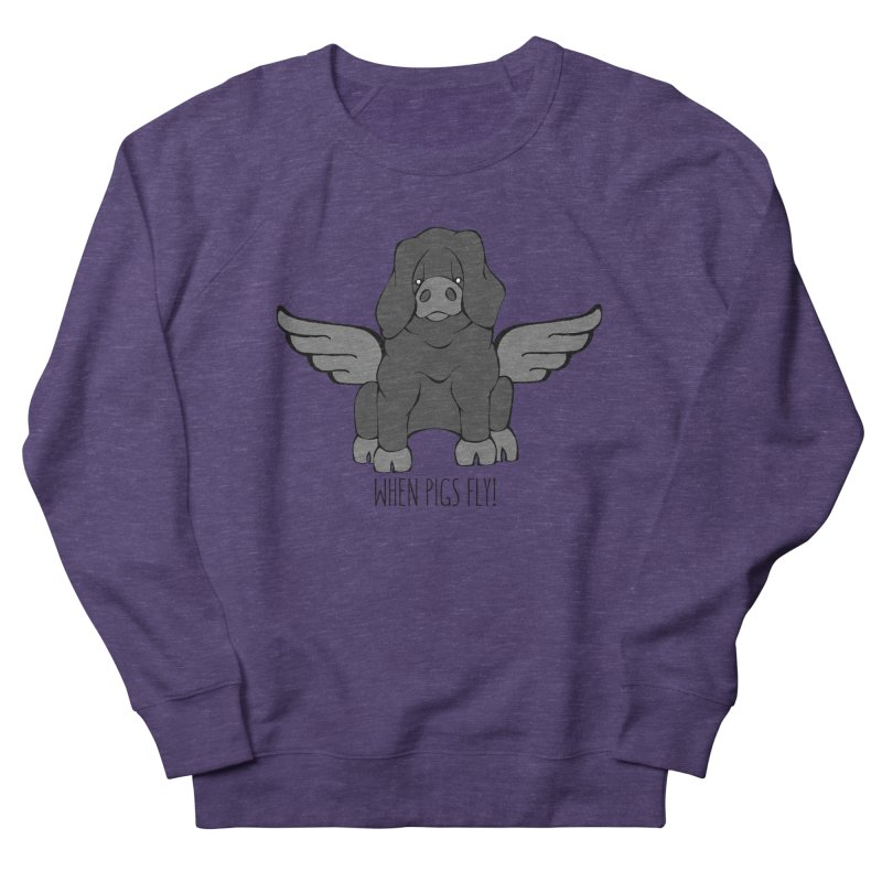 When Pigs Fly: Large Black Women's Sweatshirt by Angry Squirrel Studio
