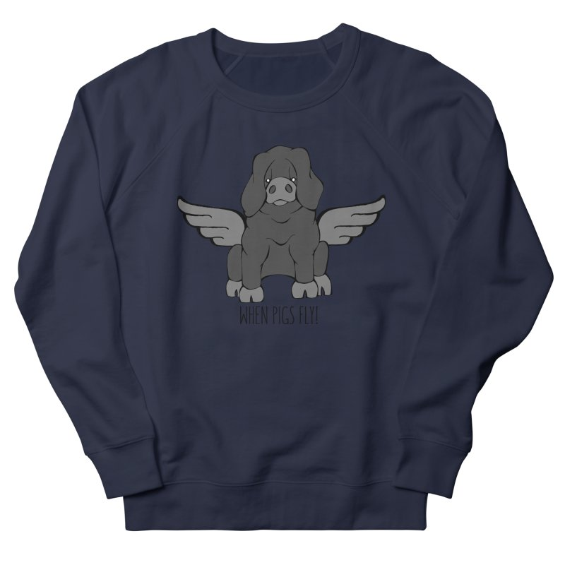 When Pigs Fly: Large Black Men's Sweatshirt by Angry Squirrel Studio