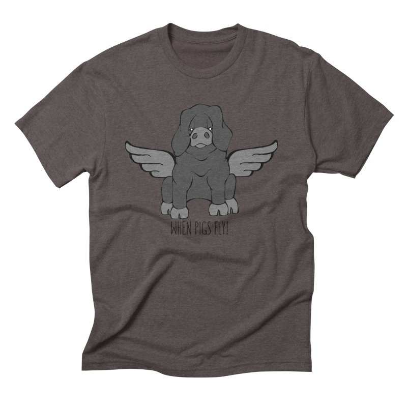 When Pigs Fly: Large Black Men's Triblend T-Shirt by Angry Squirrel Studio