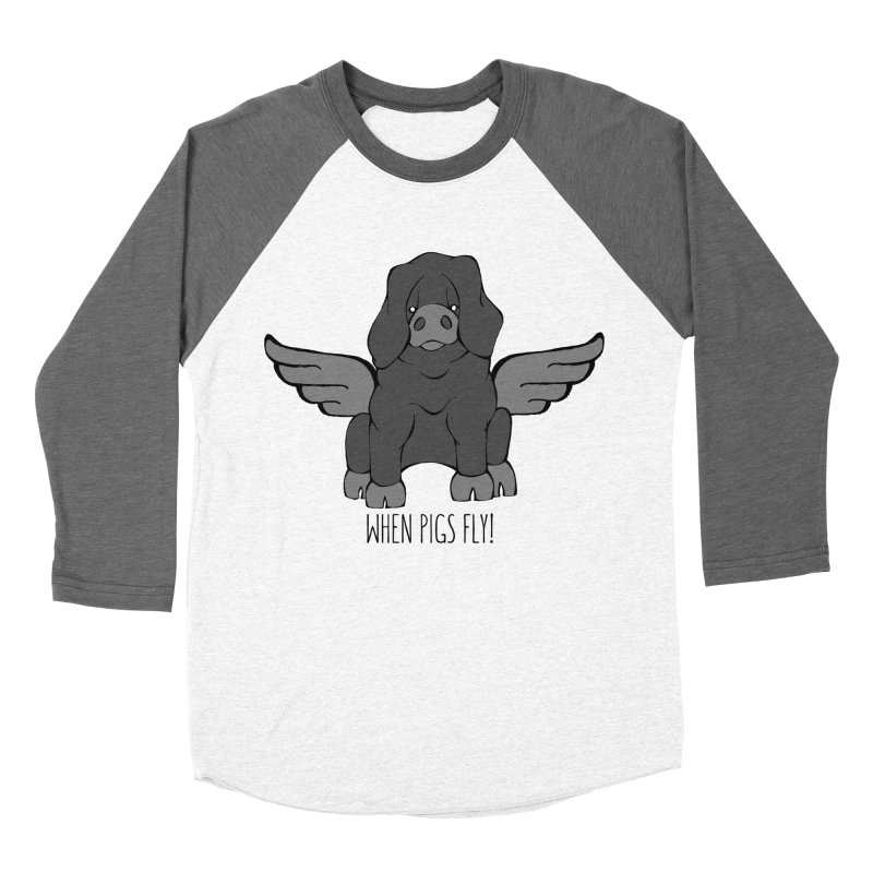 When Pigs Fly: Large Black Women's Baseball Triblend Longsleeve T-Shirt by Angry Squirrel Studio