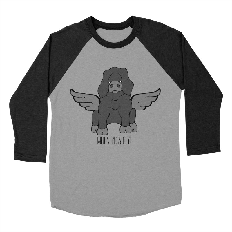 When Pigs Fly: Large Black Women's Baseball Triblend T-Shirt by Angry Squirrel Studio