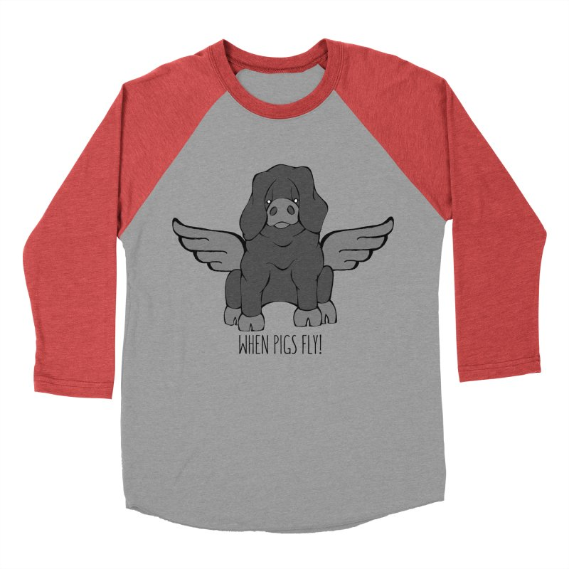 When Pigs Fly: Large Black Men's Baseball Triblend T-Shirt by Angry Squirrel Studio