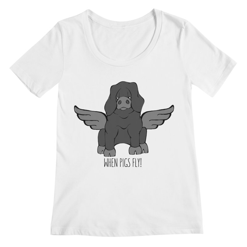 When Pigs Fly: Large Black Women's Regular Scoop Neck by Angry Squirrel Studio