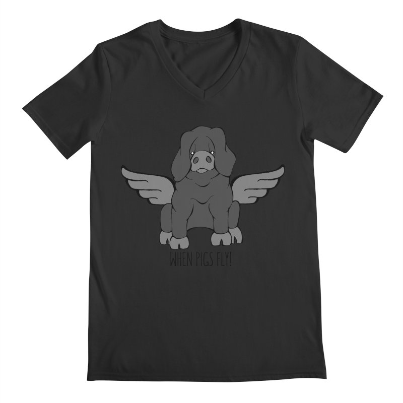 When Pigs Fly: Large Black Men's Regular V-Neck by Angry Squirrel Studio