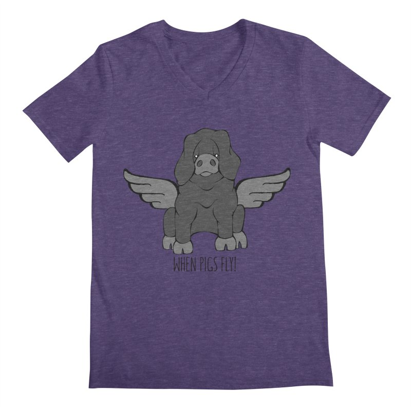 When Pigs Fly: Large Black Men's V-Neck by Angry Squirrel Studio