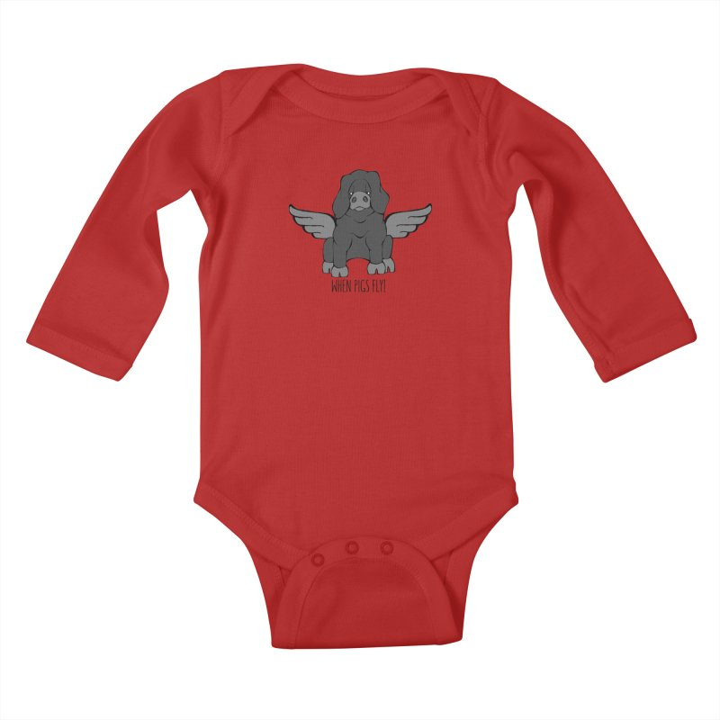 When Pigs Fly: Large Black Kids Baby Longsleeve Bodysuit by Angry Squirrel Studio