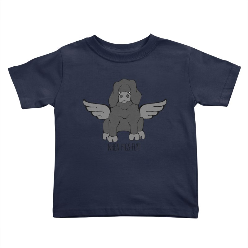 When Pigs Fly: Large Black Kids Toddler T-Shirt by Angry Squirrel Studio