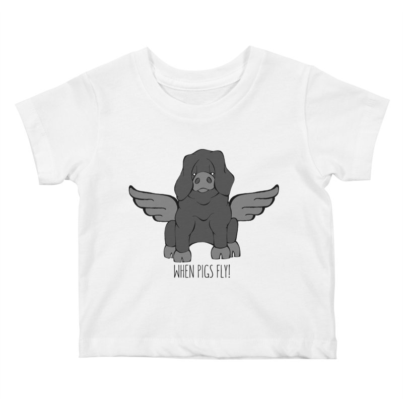 When Pigs Fly: Large Black Kids Baby T-Shirt by Angry Squirrel Studio