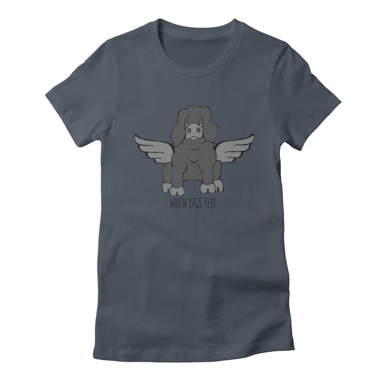 When Pigs Fly: Large Black Women's T-Shirt by Angry Squirrel Studio