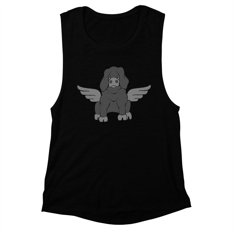 When Pigs Fly: Large Black Women's Muscle Tank by Angry Squirrel Studio