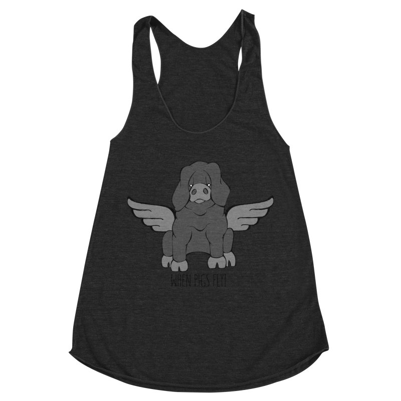 When Pigs Fly: Large Black Women's Racerback Triblend Tank by Angry Squirrel Studio