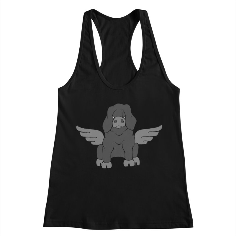 When Pigs Fly: Large Black Women's Racerback Tank by Angry Squirrel Studio