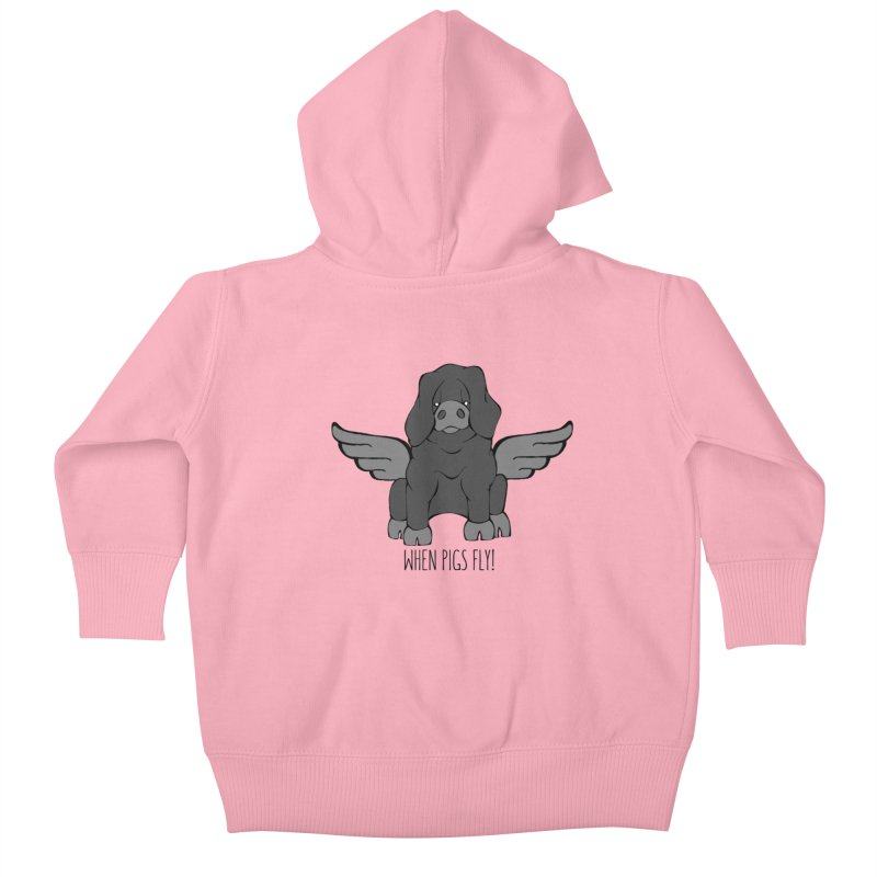 When Pigs Fly: Large Black Kids Baby Zip-Up Hoody by Angry Squirrel Studio