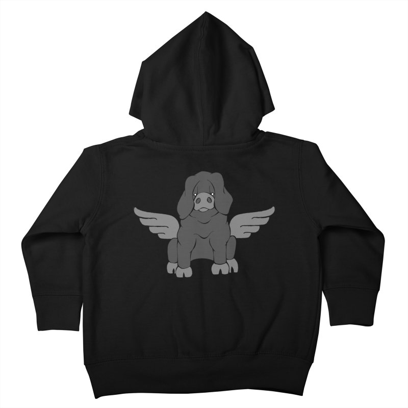 When Pigs Fly: Large Black Kids Toddler Zip-Up Hoody by Angry Squirrel Studio