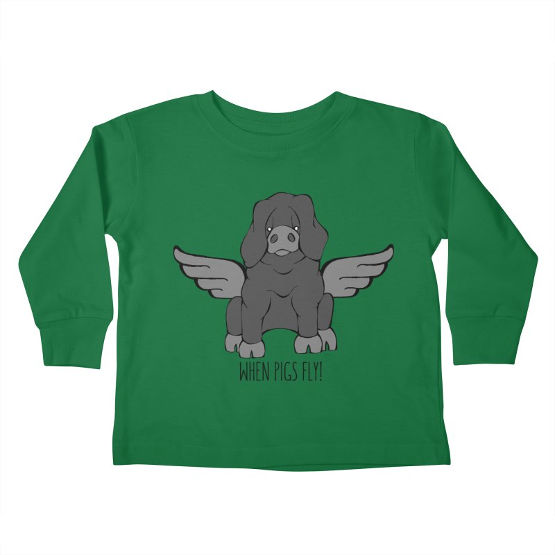 When Pigs Fly: Large Black Kids Toddler Longsleeve T-Shirt by Angry Squirrel Studio
