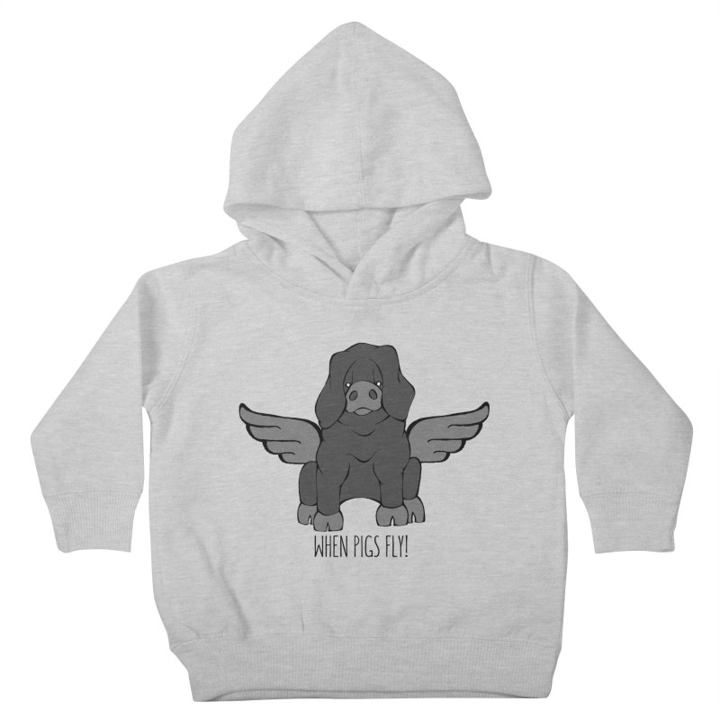 When Pigs Fly: Large Black Kids Toddler Pullover Hoody by Angry Squirrel Studio