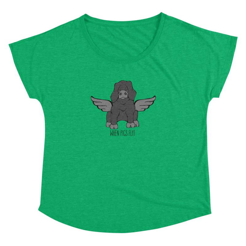 When Pigs Fly: Large Black Women's Dolman by Angry Squirrel Studio