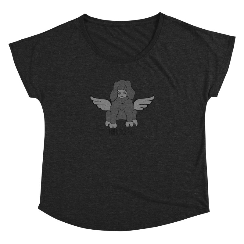 When Pigs Fly: Large Black Women's Dolman Scoop Neck by Angry Squirrel Studio
