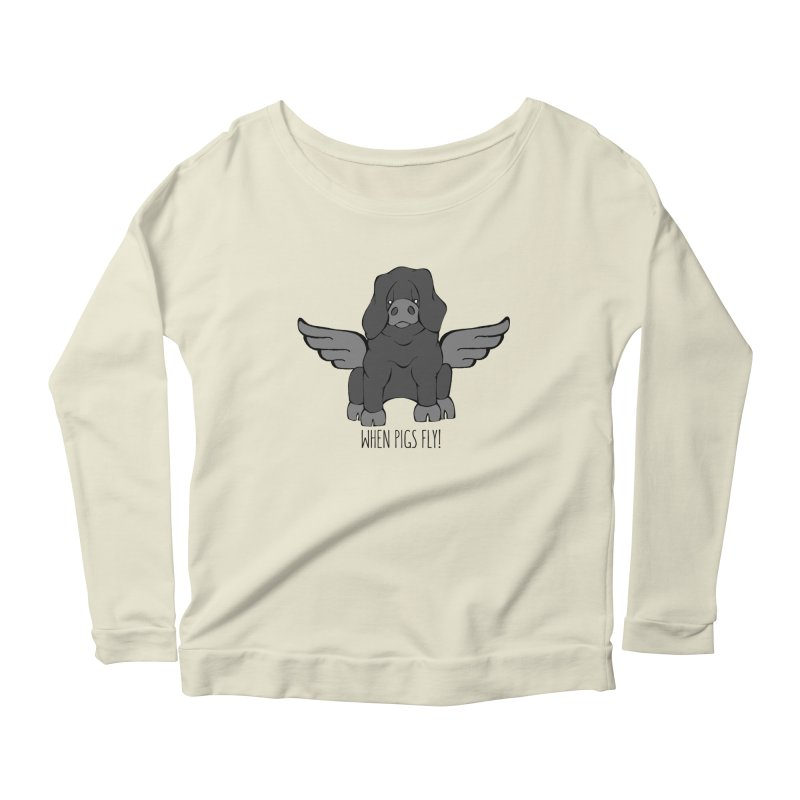 When Pigs Fly: Large Black Women's Longsleeve Scoopneck  by Angry Squirrel Studio