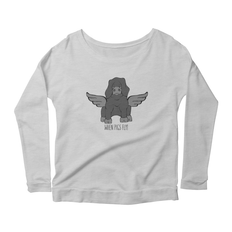 When Pigs Fly: Large Black Women's Scoop Neck Longsleeve T-Shirt by Angry Squirrel Studio