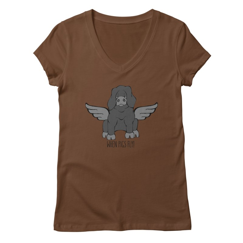 When Pigs Fly: Large Black Women's V-Neck by Angry Squirrel Studio