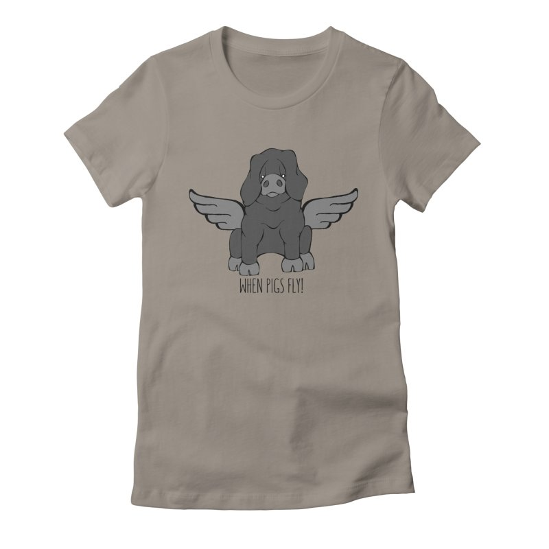 When Pigs Fly: Large Black Women's Fitted T-Shirt by Angry Squirrel Studio