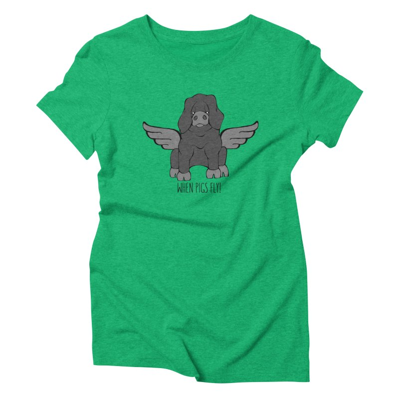When Pigs Fly: Large Black Women's Triblend T-shirt by Angry Squirrel Studio