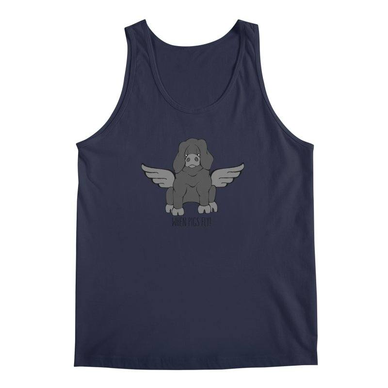 When Pigs Fly: Large Black Men's Tank by Angry Squirrel Studio
