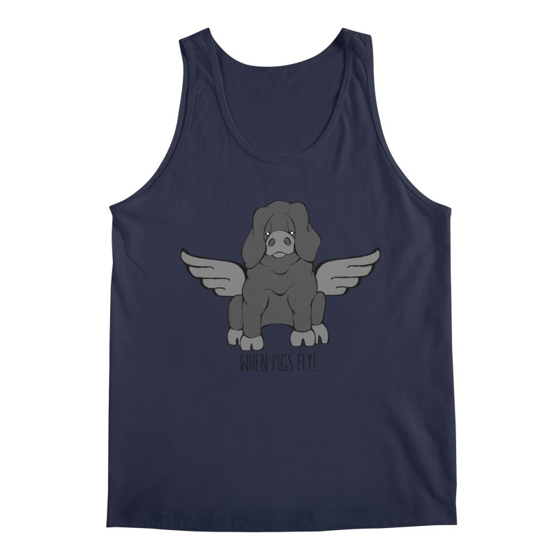 When Pigs Fly: Large Black Men's Regular Tank by Angry Squirrel Studio