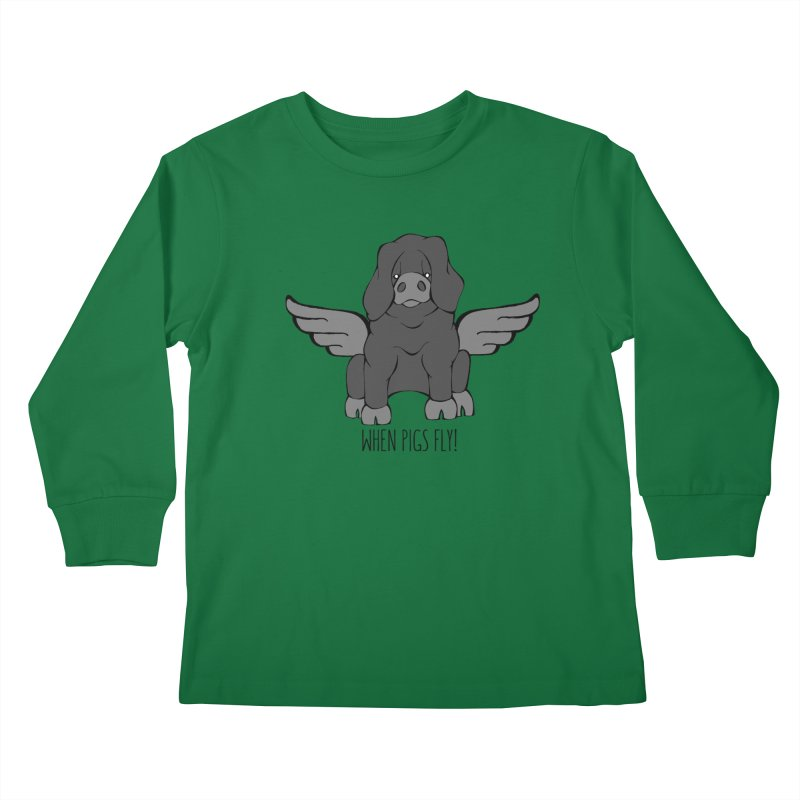 When Pigs Fly: Large Black Kids Longsleeve T-Shirt by Angry Squirrel Studio