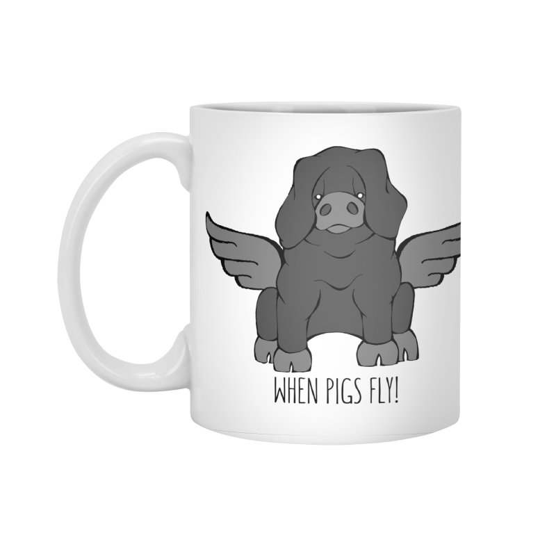 When Pigs Fly: Large Black Accessories Standard Mug by Angry Squirrel Studio