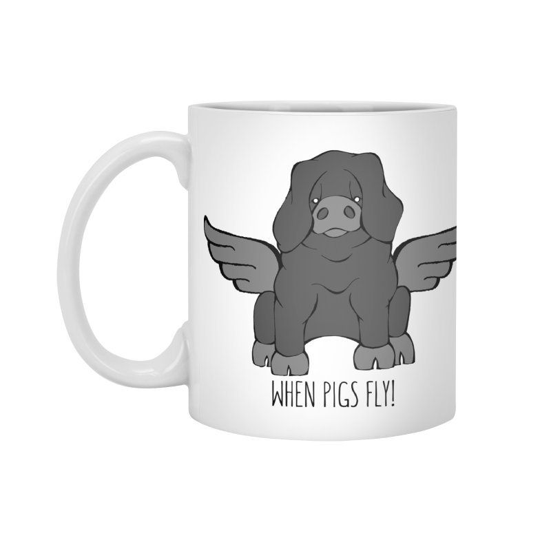 When Pigs Fly: Large Black Accessories Mug by Angry Squirrel Studio