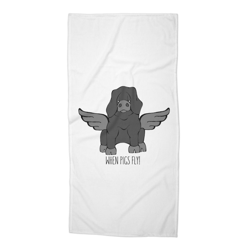 When Pigs Fly: Large Black Accessories Beach Towel by Angry Squirrel Studio