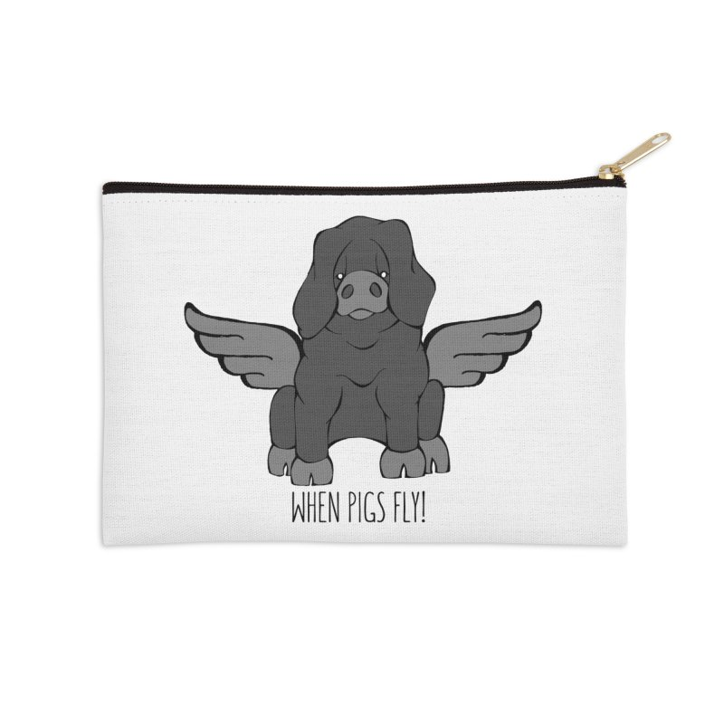 When Pigs Fly: Large Black Accessories Zip Pouch by Angry Squirrel Studio