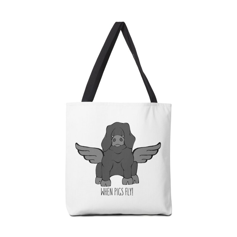 When Pigs Fly: Large Black Accessories Tote Bag Bag by Angry Squirrel Studio