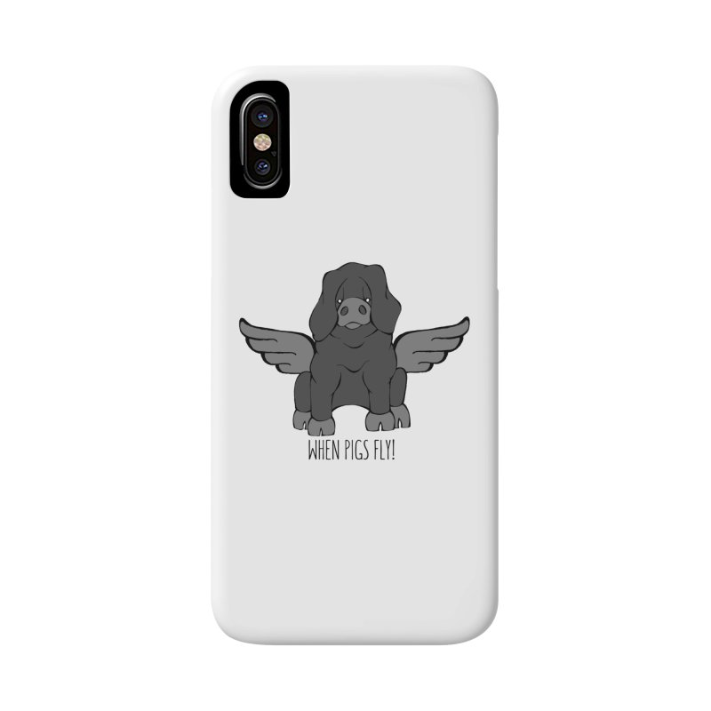 When Pigs Fly: Large Black Accessories Phone Case by Angry Squirrel Studio