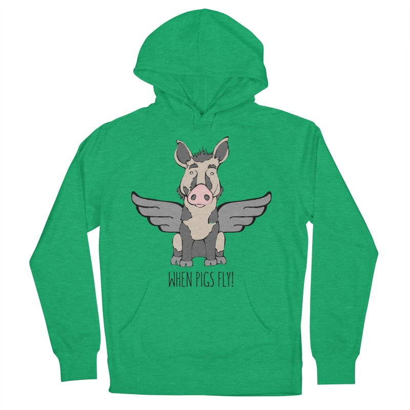 When Pigs Fly: Ossabaw Island Women's French Terry Pullover Hoody by Angry Squirrel Studio