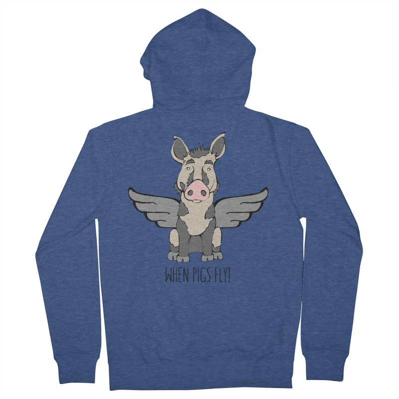 When Pigs Fly: Ossabaw Island Men's Zip-Up Hoody by Angry Squirrel Studio