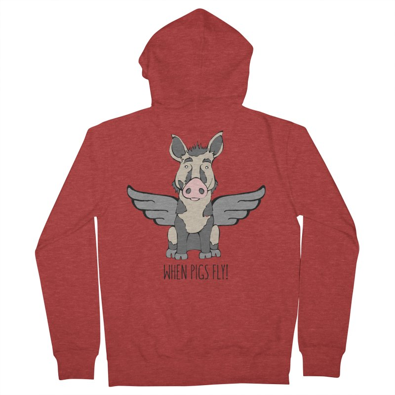 When Pigs Fly: Ossabaw Island Men's French Terry Zip-Up Hoody by Angry Squirrel Studio