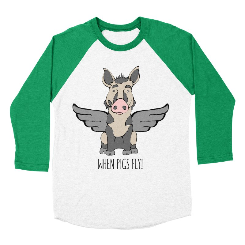 When Pigs Fly: Ossabaw Island Women's Baseball Triblend T-Shirt by Angry Squirrel Studio